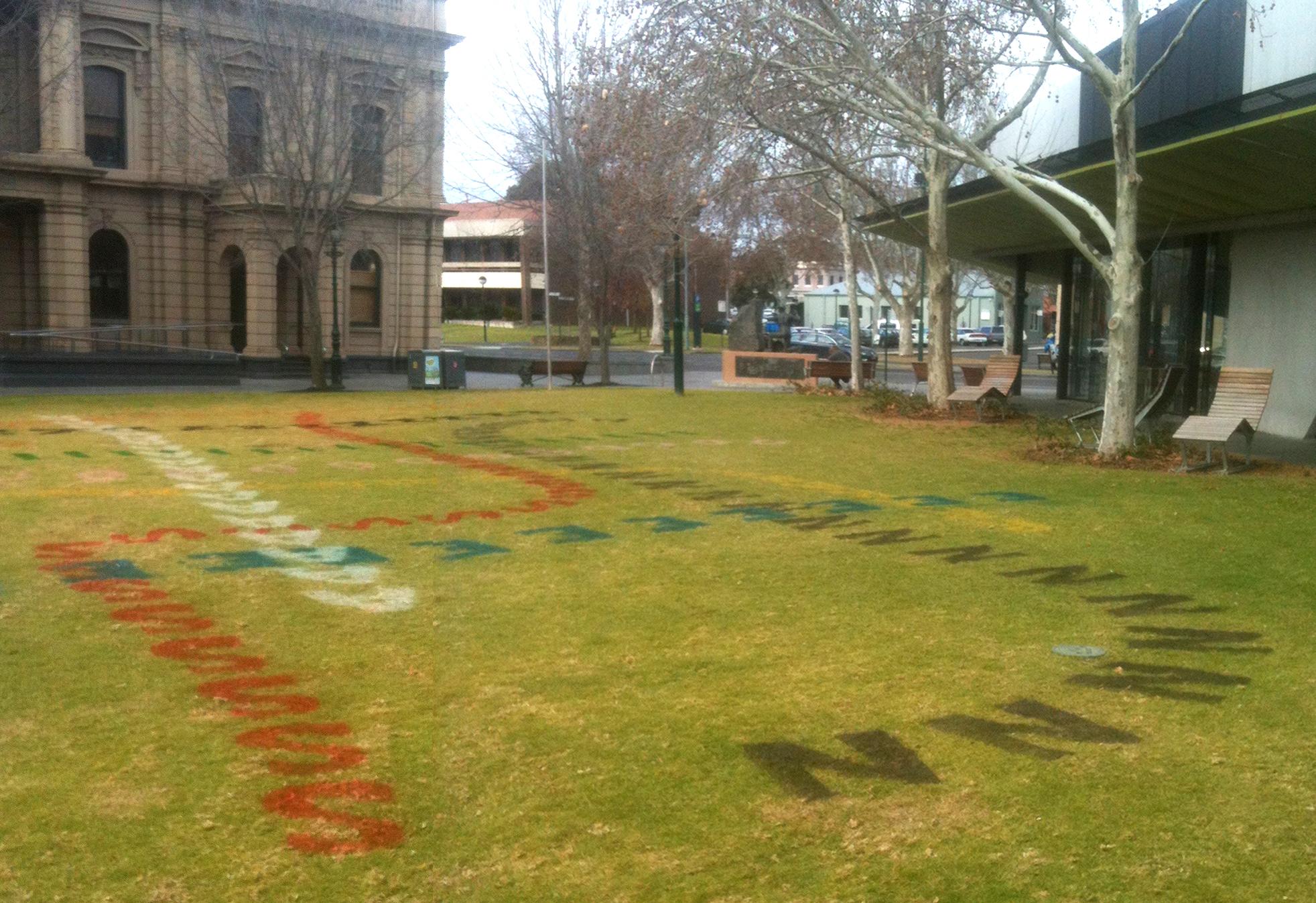 installation on the Bendigo central libray lawn